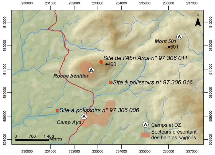 Occupation humaine préhistorique et contemporaine dans le secteur Aya (inselberg Roche Bénitier et environs). Le contour des secteurs à balatas saignés est pour l'instant très approximatif.