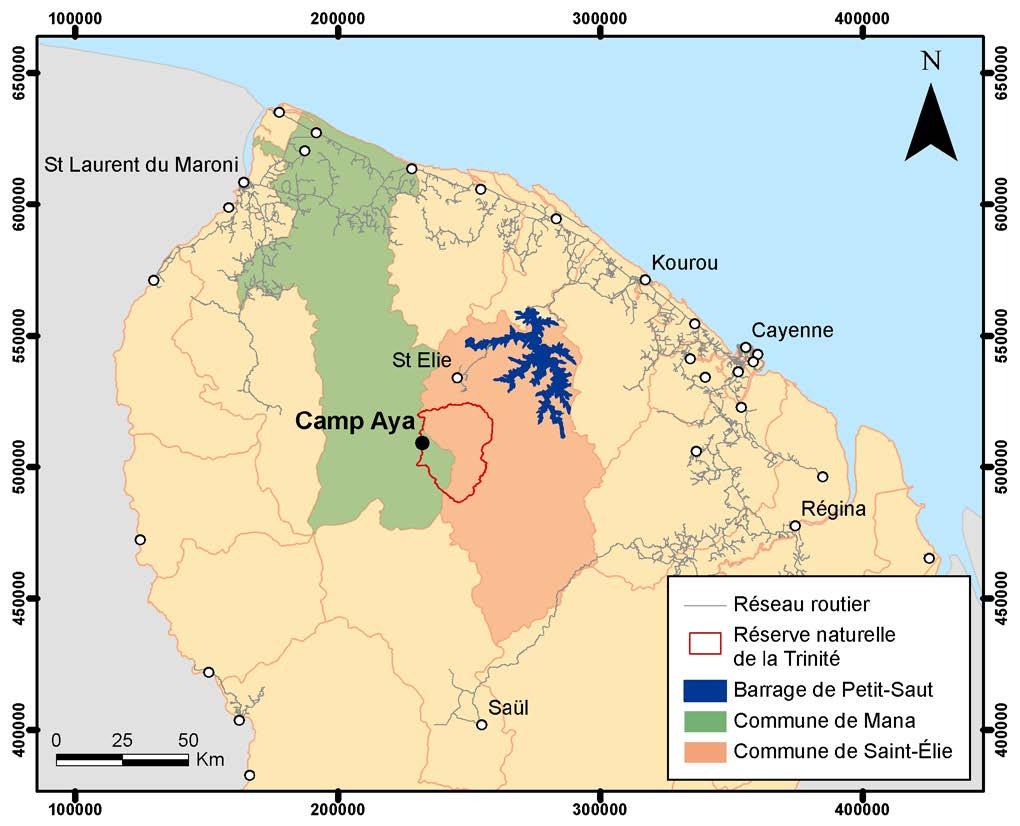 Localisation de la réserve naturelle de la Trinité en Guyane © ONF